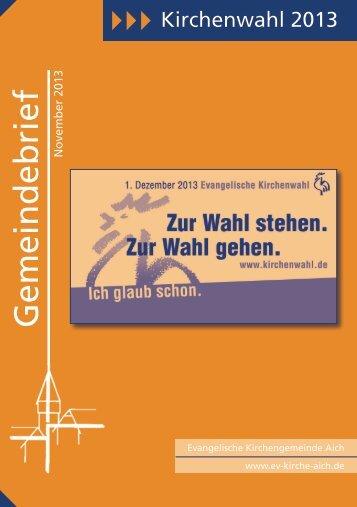 Gemeindebrief - Evangelische Kirchengemeinde Aich