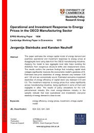 EPRG WORKING PAPER - Electricity Policy Research Group