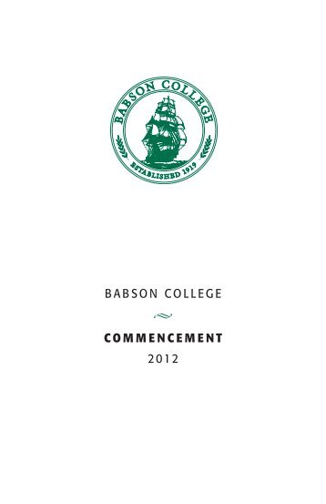 BABSON COLLEGE COMMENCEMENT 2012