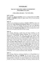 MCCALLS AFRICA ITINERARY 2014 #2 - McCalls Quilting