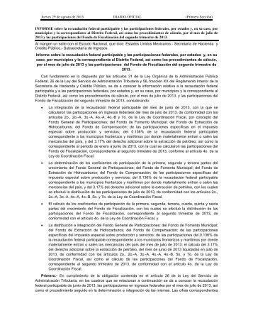 INFORME sobre la recaudación federal participable y las ... - Indetec