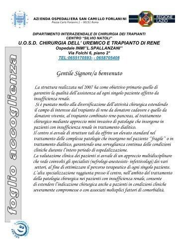 Chirurgia dell'Uremico e Trapianto di Rene - Azienda Ospedaliera S ...