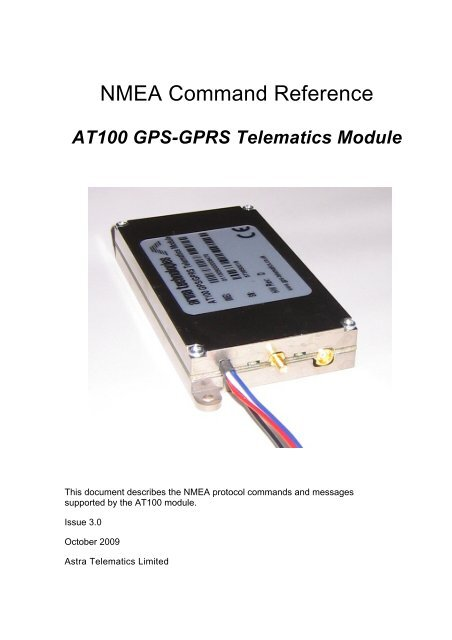 At100 Nmea Command Reference Gps Telematics Com