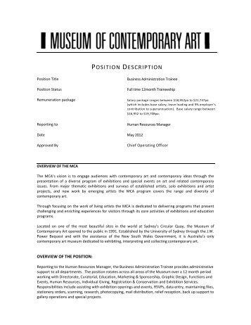 POSITION DESCRIPTION - Museum of Contemporary Art