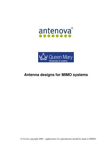 Antenna designs for MIMO systems - Physics at Oregon State ...