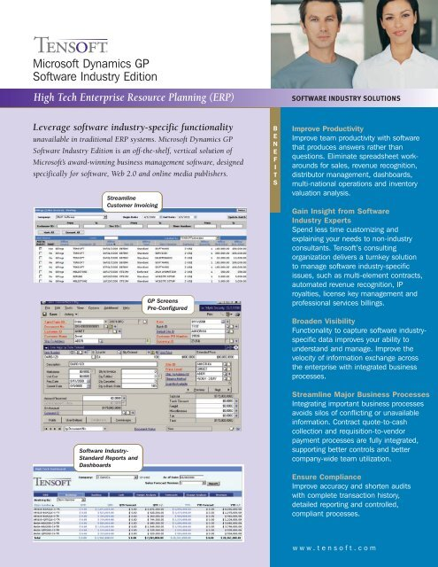 Microsoft Dynamics Gp Software Industry Edition Tensoft Com