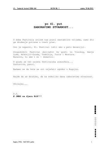 Bilten br.1 u pdf formatu. - KSC Bugojno