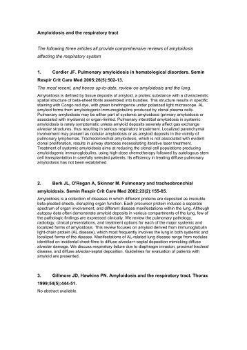 Amyloidosis and the respiratory tract