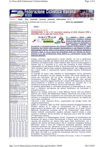 23 novembre 2010 - Federazione Ciclistica Italiana