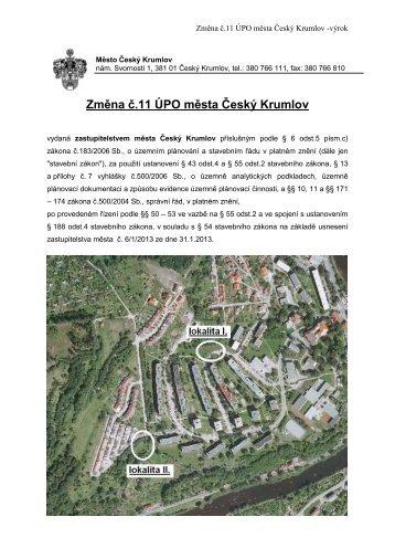 Změna č.11 ÚPO města Český Krumlov