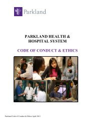 parkland health & hospital system code of conduct ... - EthicsPoint