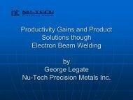 Electron-Beam Welding - Nu-Tech Metals - Nov 2012