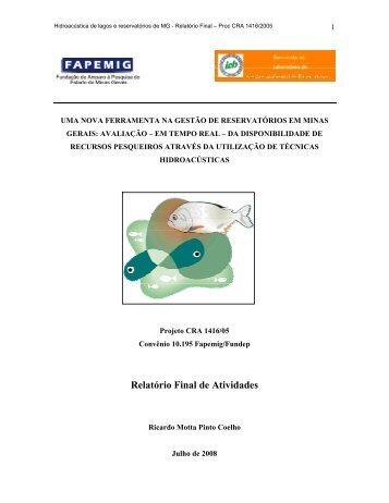 Relatório Final de Atividades - Ecologia e Gestão Ambiental - UFMG
