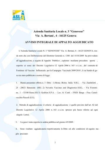 "Azienda Sanitaria Locale n. 3 ""Genovese"" Via A. Bertani , 4 - 16125 ..."