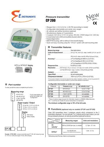 CP200 – Pressure Transmitter - E Instruments