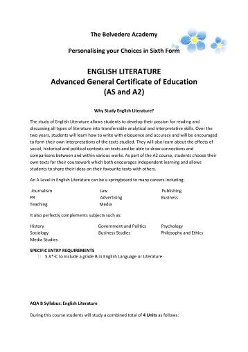 English Literature AS - The Belvedere Academy Sixth Form