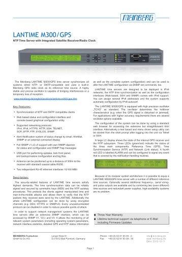 LANTIME M300/GPS - Meinberg USA