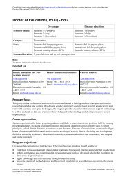 Doctor of Education - University of Southern Queensland