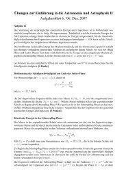¨Ubungen zur Einf¨uhrung in die Astronomie und Astrophysik II ...