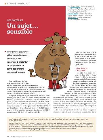 Un sujet… sensible - Fédération des producteurs de lait du Québec
