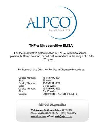 Ultrasensitive TNF-alpha ELISA - ALPCO Diagnostics