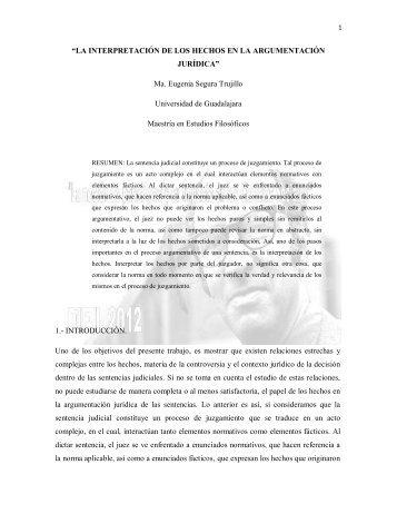 """""""LA INTERPRETACIÓN DE LOS HECHOS EN LA ..."""