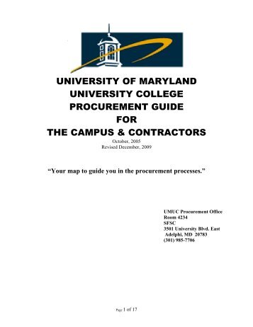 Procurement Guide - University of Maryland University College