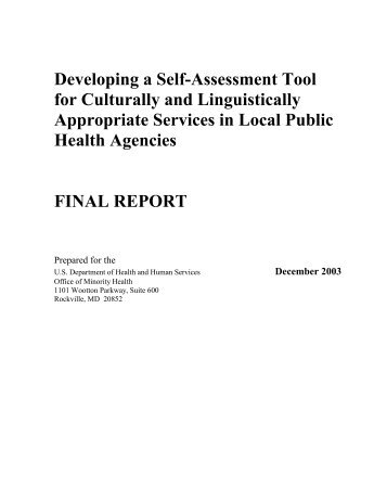 Developing a Self-Assessment Toolfor Culturally - Office of Minority ...
