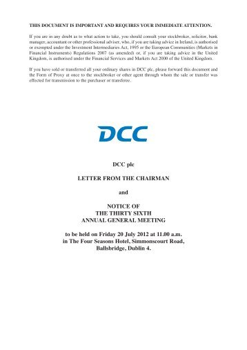 Letter from the Chairman and Notice of Annual General ... - DCC plc