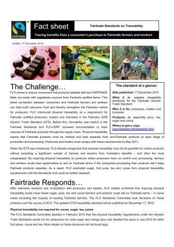 The Challenge… Fairtrade Responds… Fact sheet - Max Havelaar