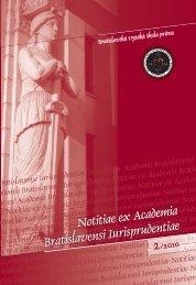 Notitiae ex Academia Bratislavensi Iurisprudentiae - Paneurópska ...