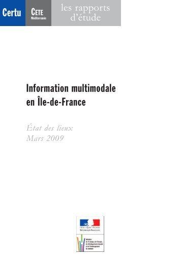Information multimodale en Île-de-France Certu CETE - Lara