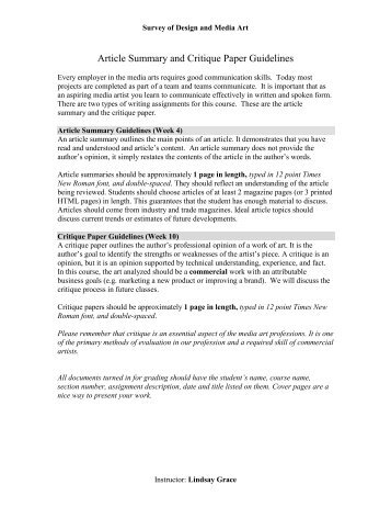 Guidelines critiquing research paper | College paper Example