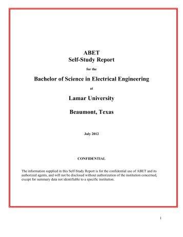 LUEE 2012 Self-Study Report (PDF) - Lamar University Electrical ...