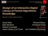 Design of an Interactive Digital Library of Formal Algorithmic ... - Nuprl