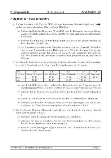 Arbeitsblatt 22 Aufgaben zur Bewegungslehre - Treminer.de