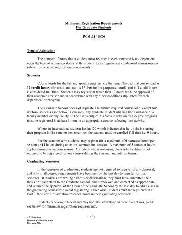 Graduate Student Minimum Registration Requirements