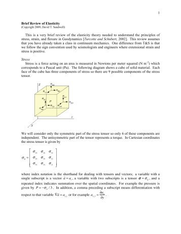 1 Brief Review of Elasticity This is a very brief review of the elasticity ...