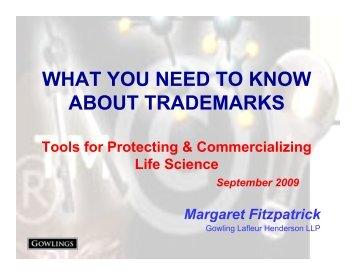 Trademarks - Margaret Fitzpatrick - LifeSciences BC