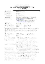 Kreis-Einzel-Bestenkämpfe der Schüler und Schülerinnen U14, U12 ...