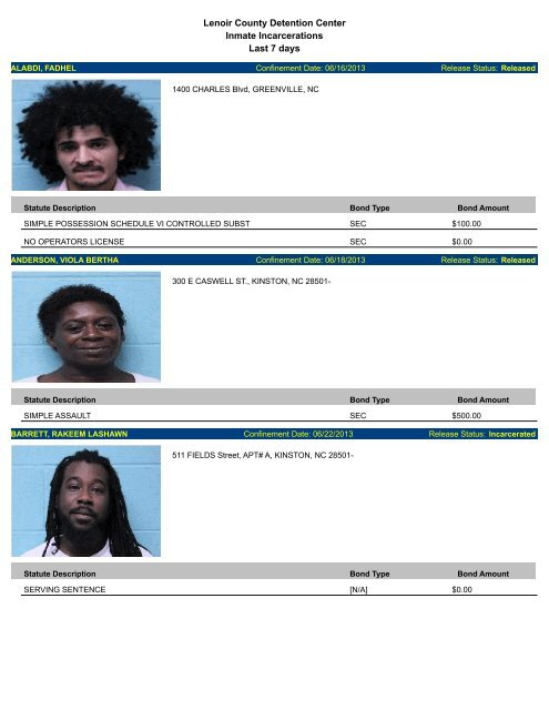 Lenoir County Detention Center Inmate Incarcerations Last 7 days