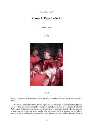 Carta Al Papa León X - Escritura y Verdad