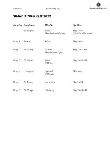 SKANDIA TOUR ELIT 2012 - Golf.se