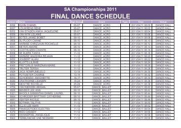 FINAL DANCE SCHEDULE - Beyond 2000