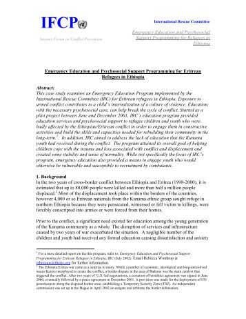 Emergency Education and Psychosocial Support Programming for ...