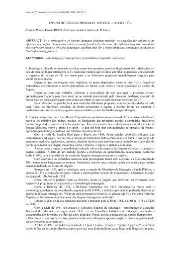 ENSINO DE LÍNGUAS PRÓXIMAS: ESPAÑOL ... - Celsul.org.br