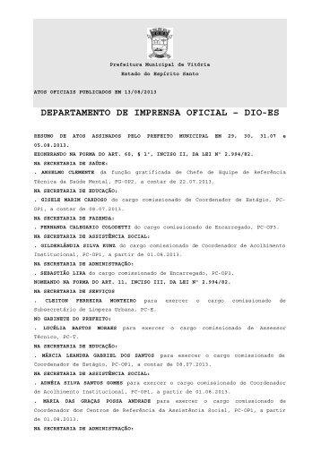 Atos Oficiais publicados em 13/08/2013 - Prefeitura de Vitória