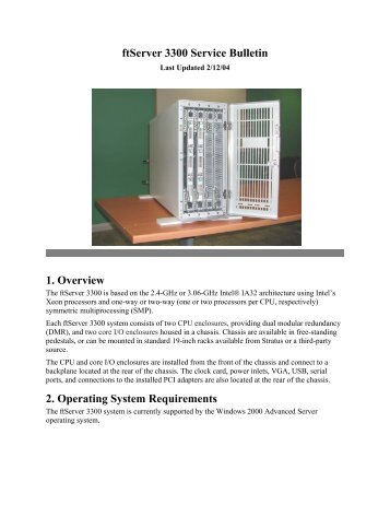 ftServer 3300 Service Bulletin 1. Overview 2. Operating System ...