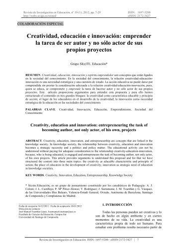 creatividad, educación e innovación - Universidade de Vigo