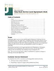 (SLA)Help Desk Service Level Agreement - New Jersey City University